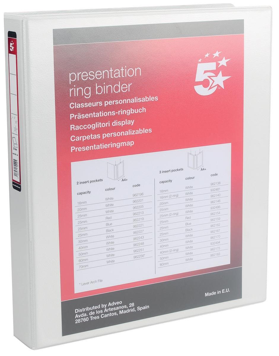 5 Star personaliseerbare ringmap A4 met 4 D-ringen van 25 mm, wit