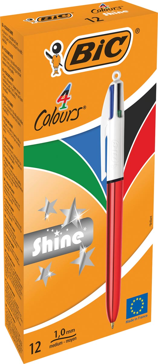Bic balpen 4 Colour Shine, rood
