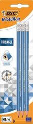 Bic potlood Evolution Triangle, met gom, blister van 3 stuks