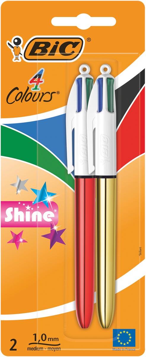 Bic balpen 4 Colours Shine, blister van 2 stuks