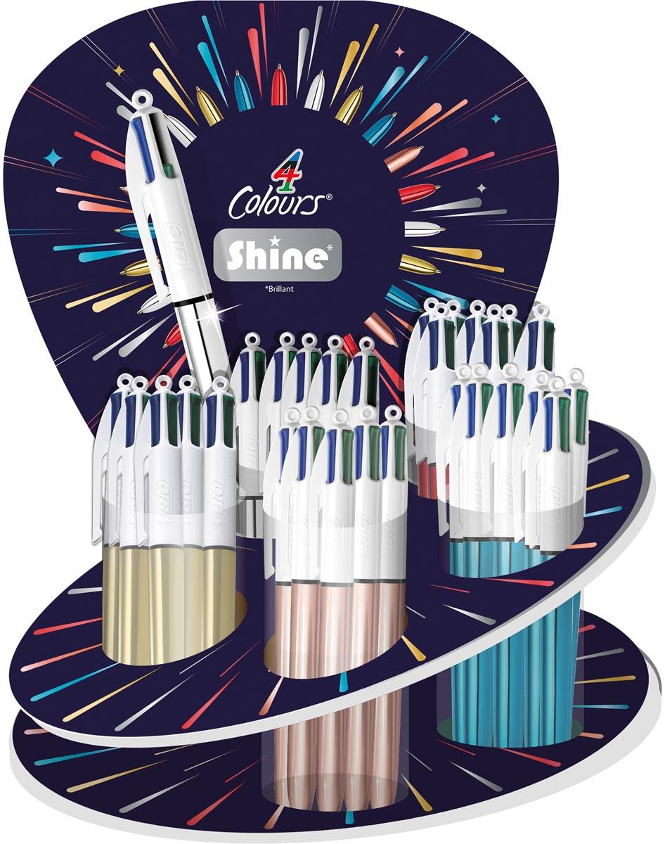Bic balpen 4 Colours Shine, display met 60 stuks in geassorteerde kleuren