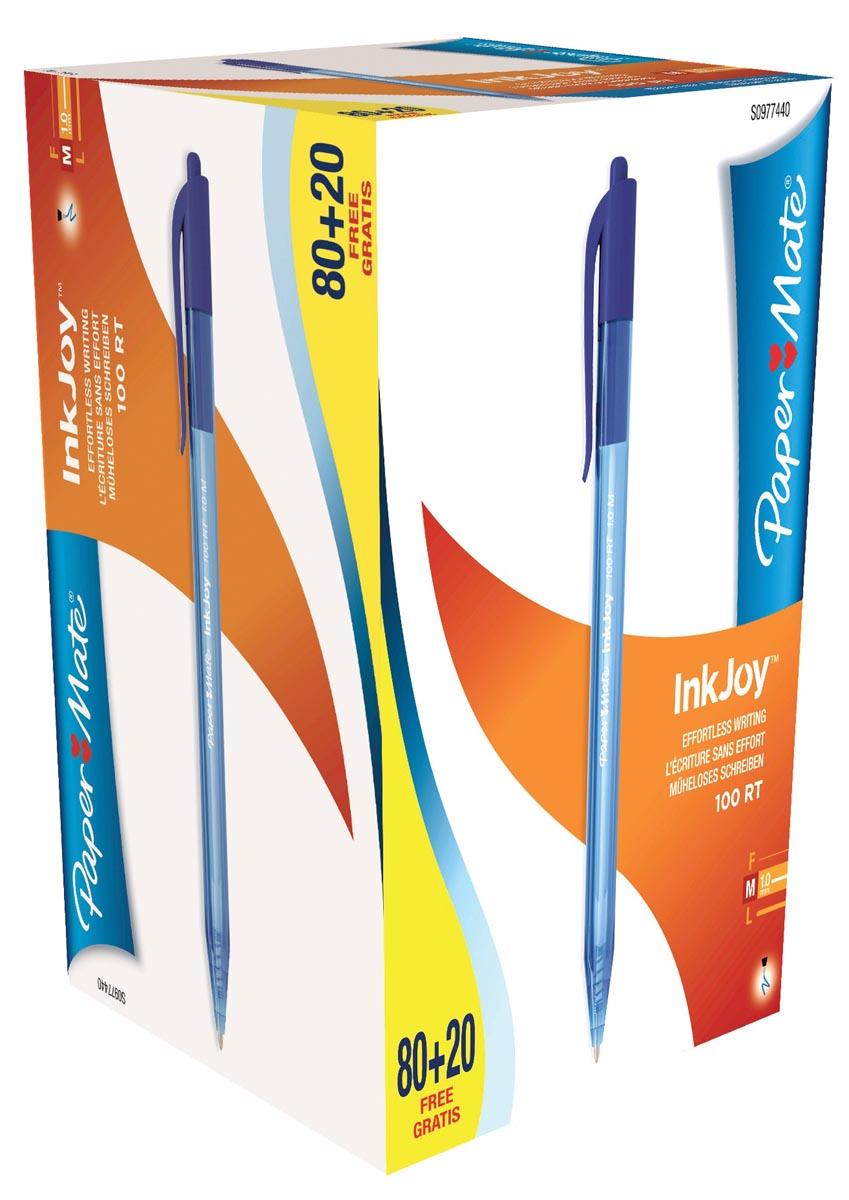 Paper Mate balpen InkJoy 100 RT, blauw, doos 80 + 20 gratis