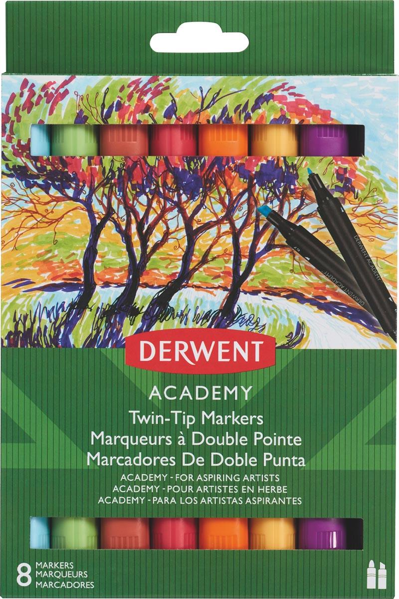 Derwent twin tip viltstiften Academy, normale/beitelpunt, blister van 8 stuks in geassorteerde kleur