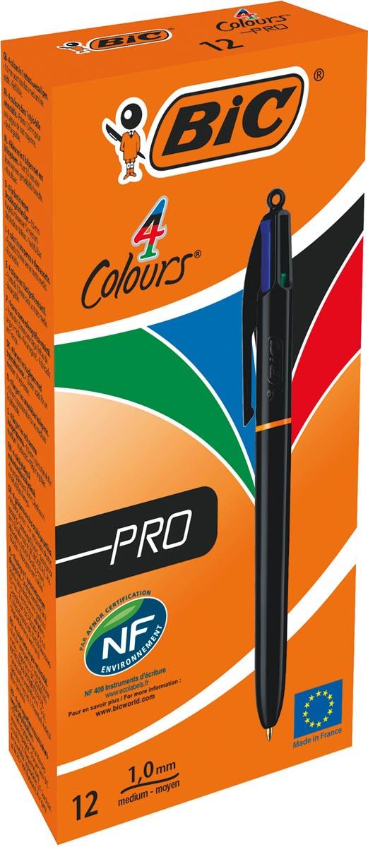 BIC 4 Colours Pro balpen, intrekbaar, medium 1,0mm