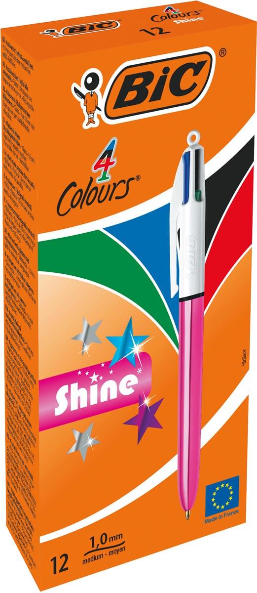 BIC 4 Colours Shine balpen, intrekbaar, medium 1,0mm, metallic roze