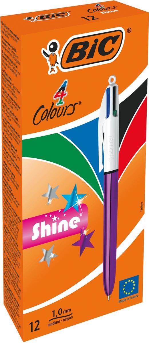 BIC 4 Colours Shine balpen, intrekbaar, medium 1,0mm, metallic paars