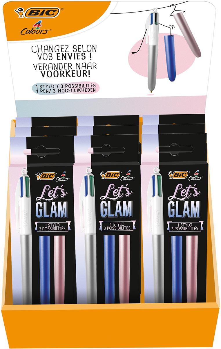 Bic balpen 4 Colours Me Glam, display met 20 stuks in geassorteerde kleuren
