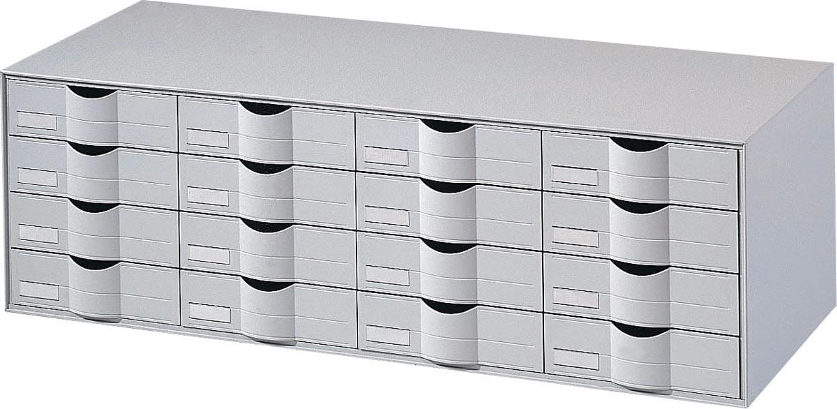 Paperflow  Stapelbare ladenkast 4 x 4 laden Grijs A4+ 107 6 x 36 9 x 34 2 cm Stuks