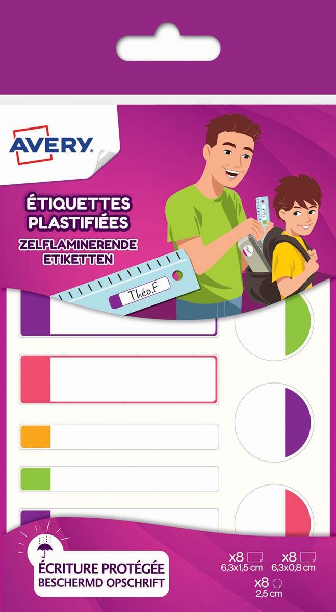 Avery Family gelamineerde etiketten, etui met 24 etiketten, geassorteerde formaten en fluo kleuren