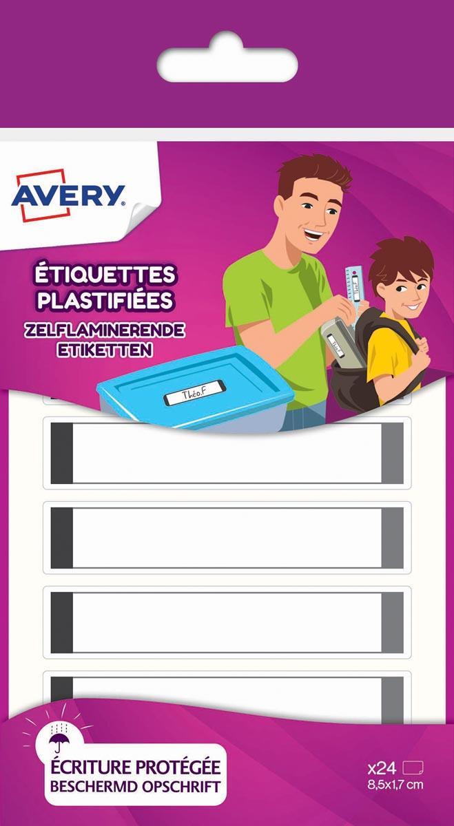 Avery Family gelamineerde etiketten, ft 8,5 x 1,7 cm, grijs, ophangbare etui met 24 etiketten