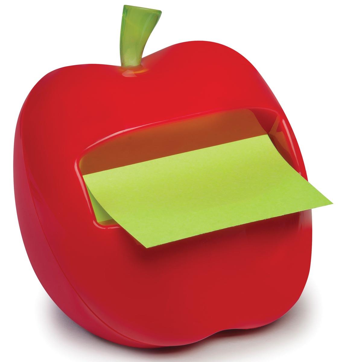 Post-it Z-Notes Dispenser rode appelvorm, ft 76 x 76 mm, groene memoblaadjes, blok van 100 vel
