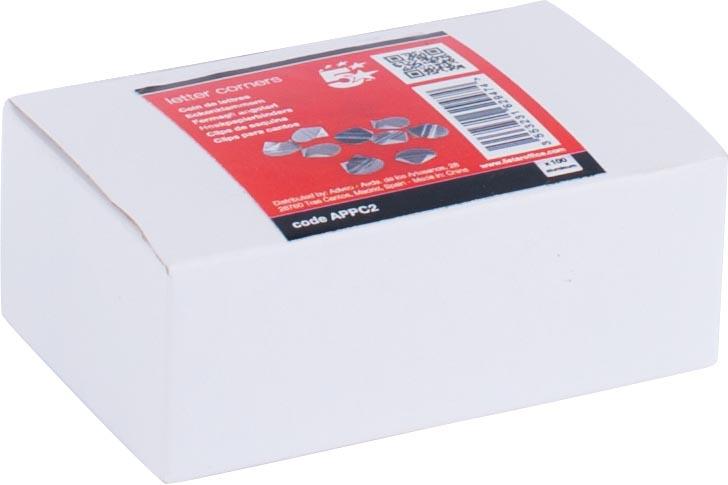 STAR hoekpapierbinders aluminium, doos van 100 stuks