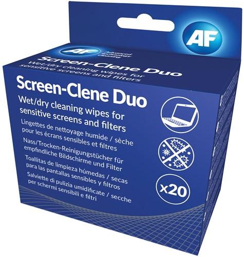 AF Screen-Clene Duo schermreinigingsdoekjes, 20 paar natte en droge doekjes