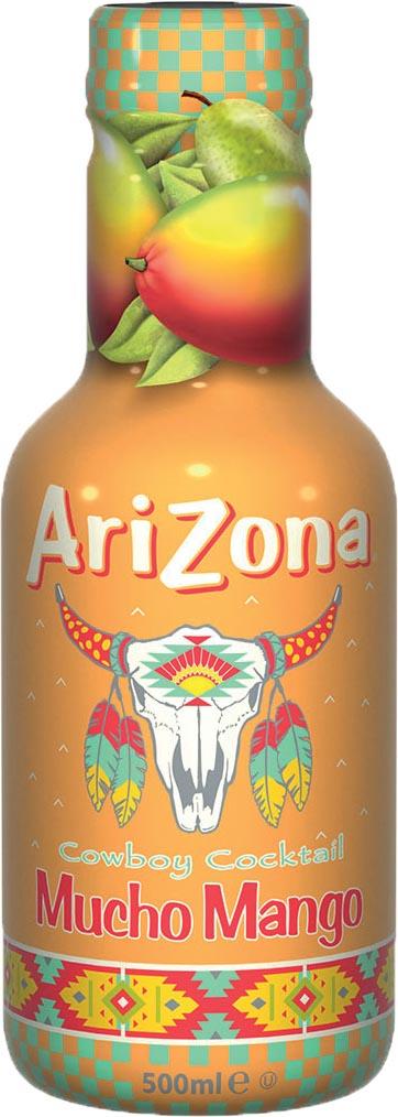 Arizona ijsthee Mucho Mango, flesjes van 0,5 L, pak van 6