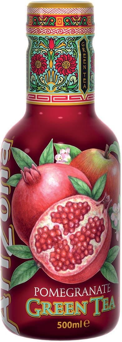Arizona ijsthee Pomegranate Green Tea, flesjes van 0,5 L, pak van 6