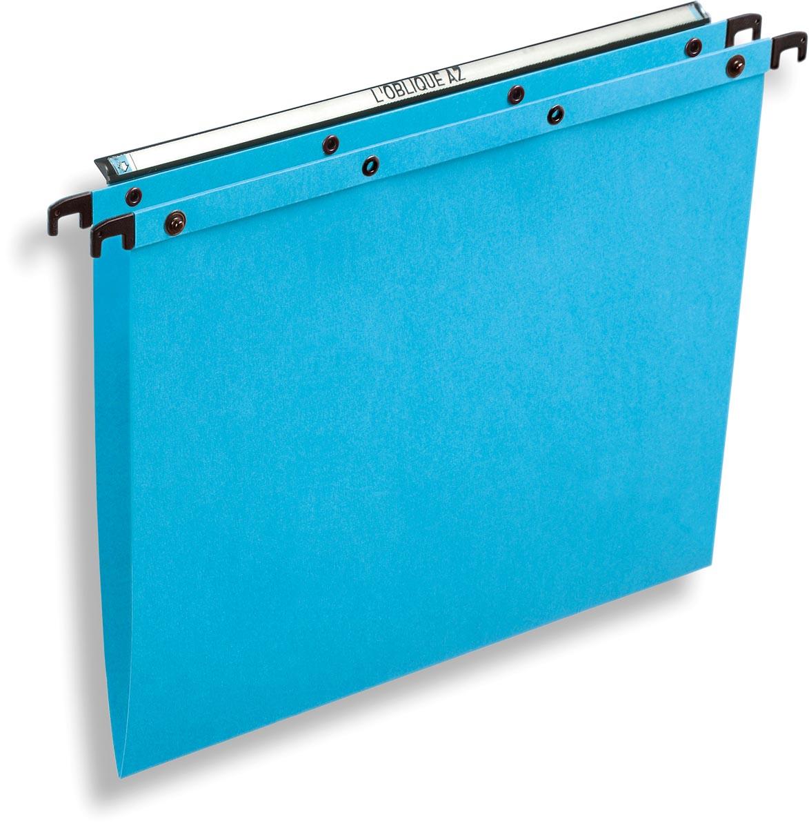 L'Oblique hangmappen voor laden AZO tussenafstand 330 mm (A4), V-bodem, blauw