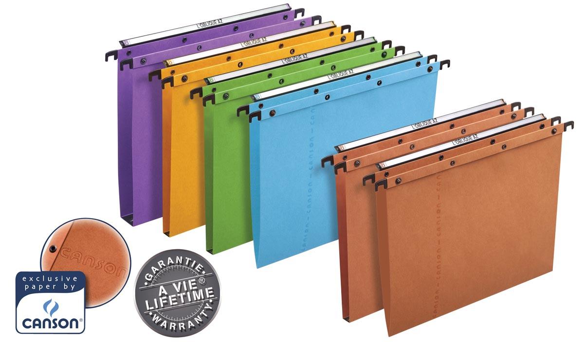 L'Oblique hangmappen voor laden AZO tussenafstand 365 mm (folio), V-bodem, oranje