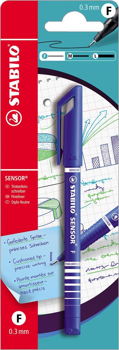 STABILO SENSOR fineliner, 0,3 mm, blauw, op blister