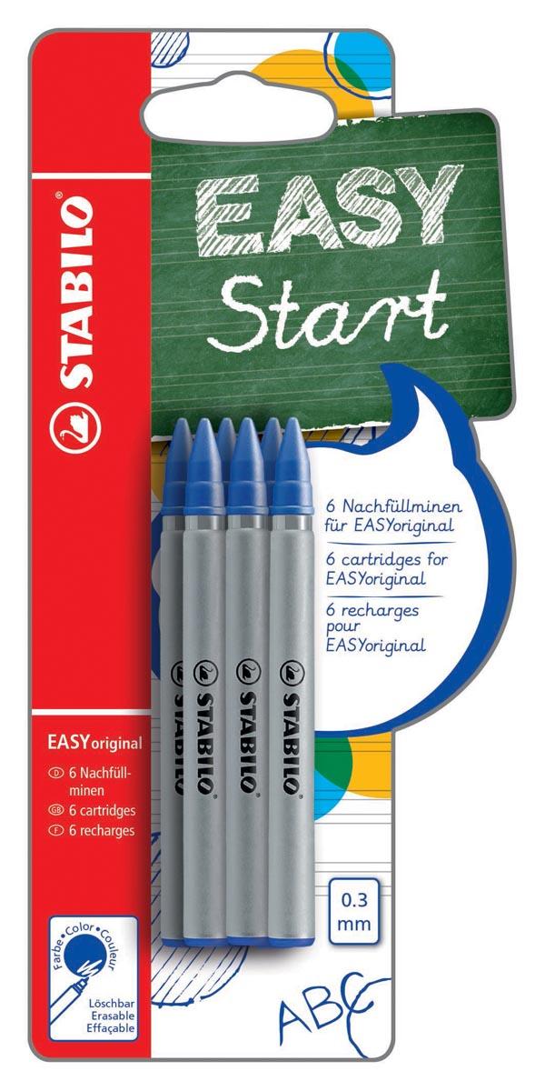 STABILO EASYoriginal rollervulling, fijn, 0,3 mm, doosje van 6 stuks, blauw