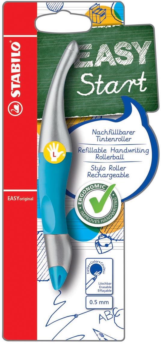 STABILO EASYoriginal metallic roller, voor linkshandigen, blister van 1 stuk, blauw-zilver