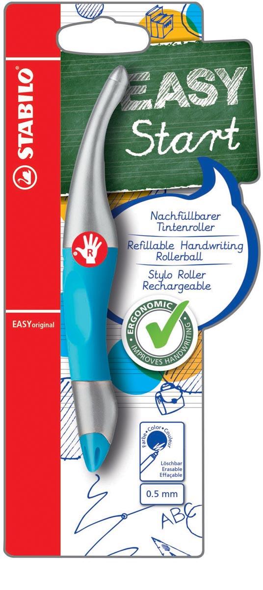 STABILO EASYoriginal metallic roller, voor rechtshandigen, blister van 1 stuk, blauw-zilver