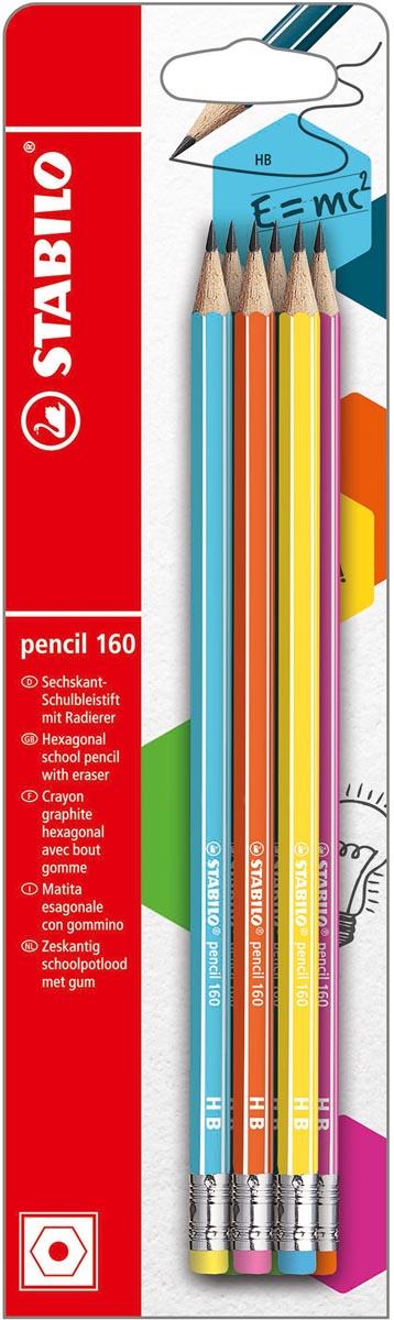 Stabilo grafietpotlood 160 HB met gom, blister met 6 stuks in geassorterde kleuren