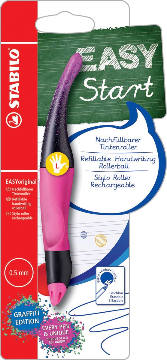 STABILO EASYoriginal 'graffiti' roller, voor linkshandigen, blister van 1 stuk, roze