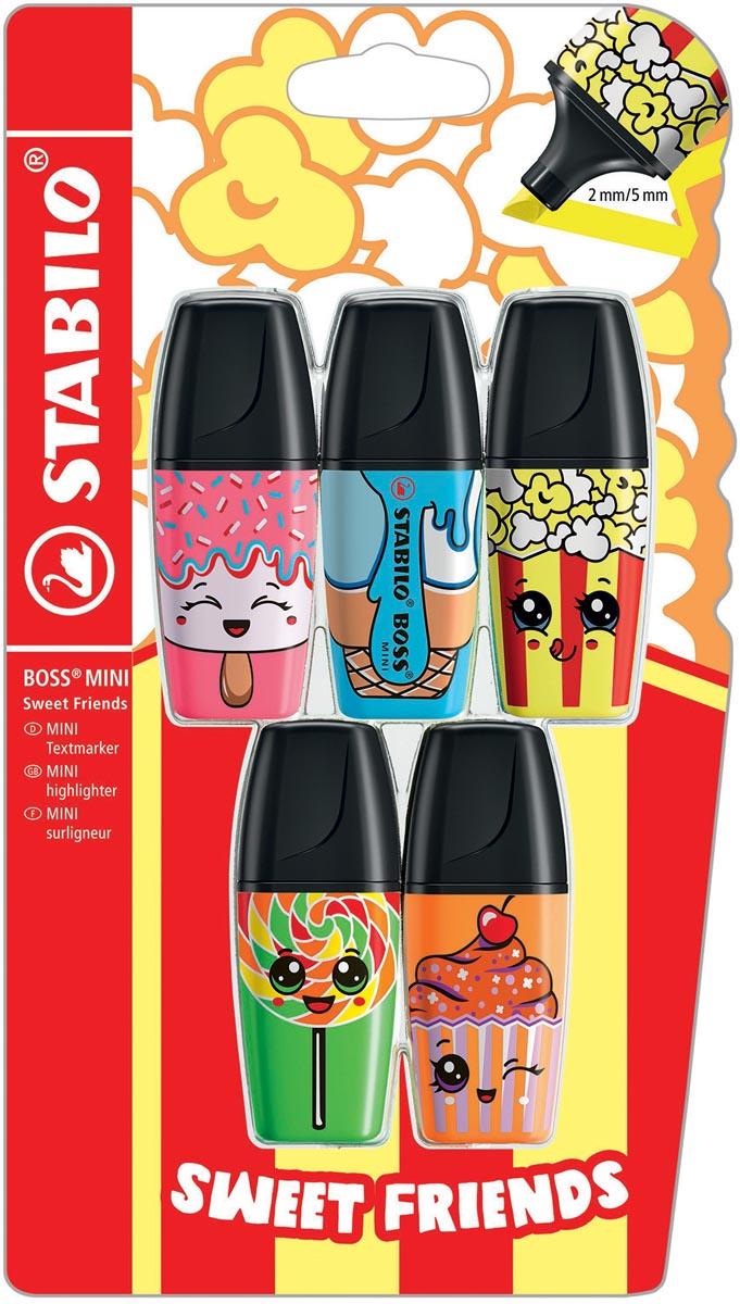 STABILO BOSS MINI Sweet Friends markeerstift, blister van 5 stuks in geassorteerde kleuren