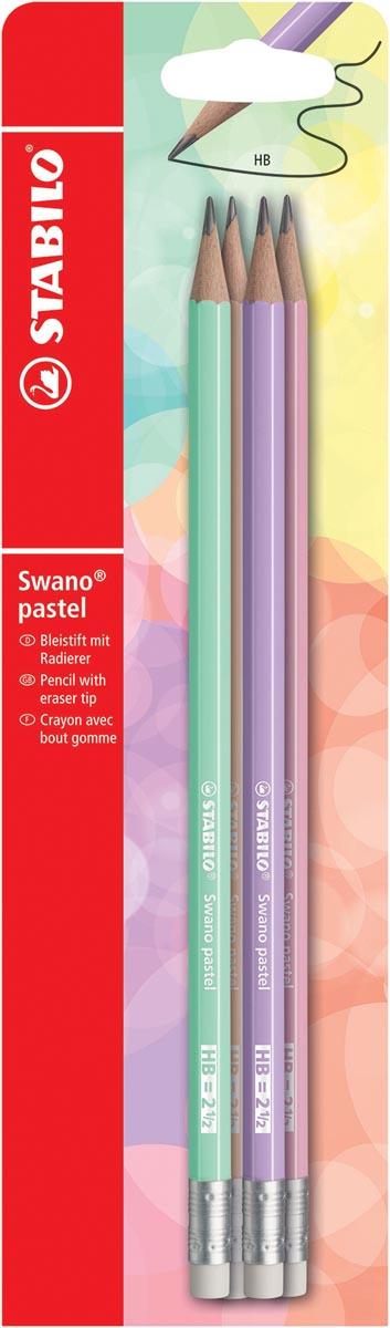 STABILO Swano pastel potlood, HB, met gom, blister van 4 stuks in geassorteerde kleuren