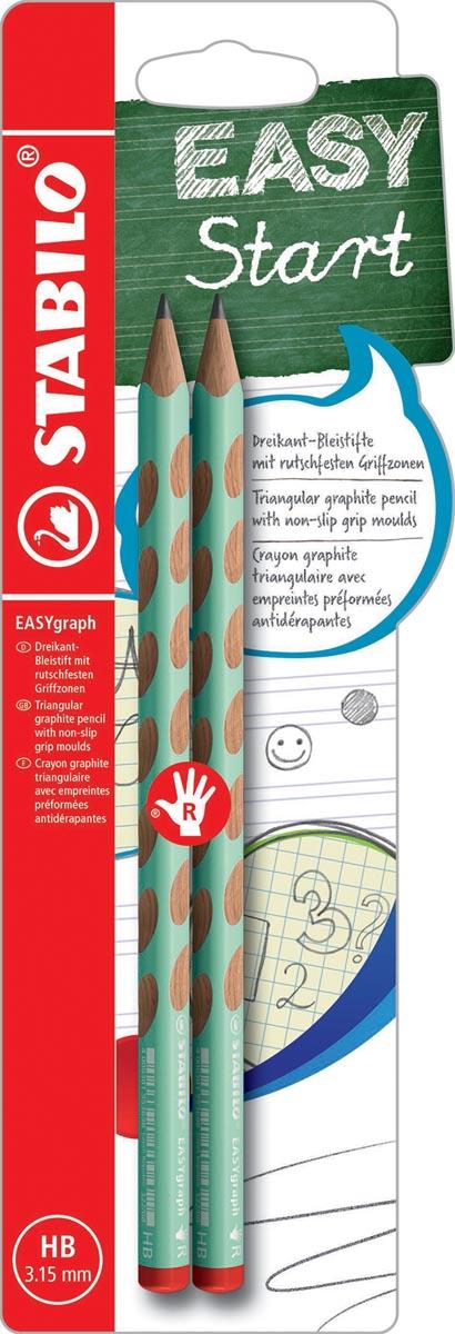 STABILO EASYgraph S Pastel potlood, HB, 3,15 mm, blister van 2 stuks, voor rechtshandigen, groen