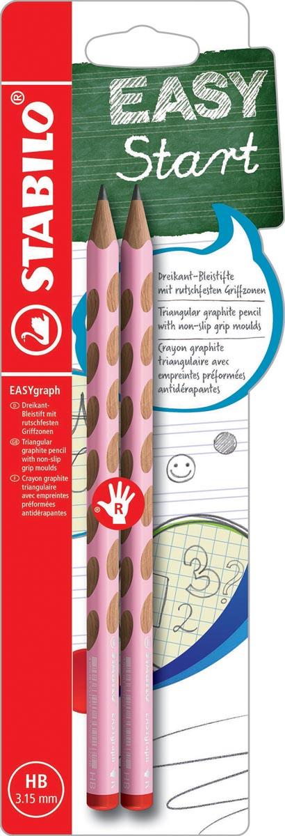 STABILO EASYgraph S Pastel potlood, HB, 3,15 mm, blister van 2 stuks, voor rechtshandigen, roze