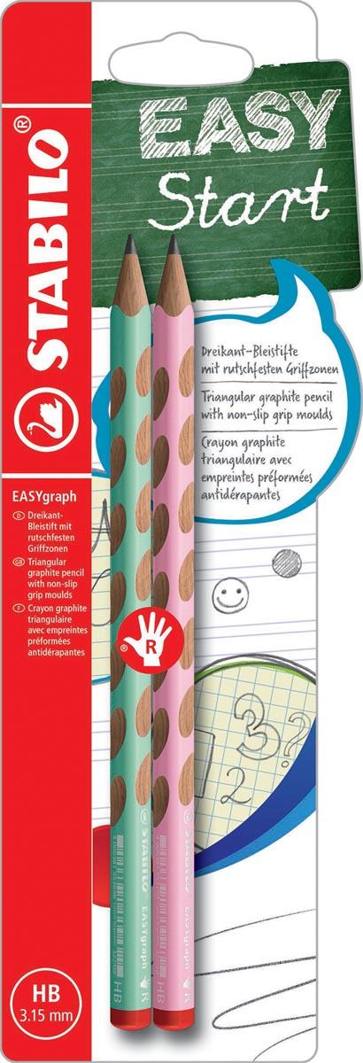 STABILO EASYgraph S Pastel potlood, HB, 3,15 mm, blister van 2 stuks, voor rechtshandigen, groen en