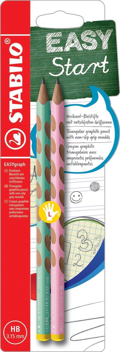 STABILO EASYgraph S Pastel potlood, HB, 3,15 mm, blister van 2 stuks, voor linkshandigen, groen en r