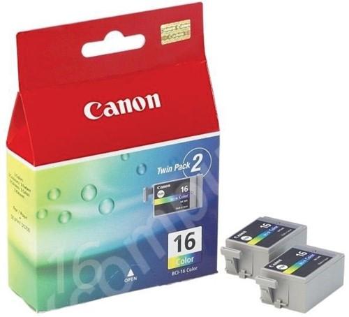 Canon inktcartridge BCI-16-CL, 100 pagina's, OEM 9818A002, duopack, 3 kleuren