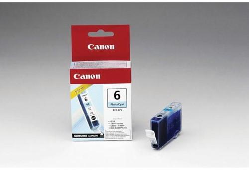 Canon inktcartridge BCI-6PC, 280 pagina's, OEM 4709A002, licht cyaan