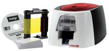 Badgy badgeprinter badgy plastic kaart printer badgy100, 1 kleur lint voor 50 prints, 50 dikke blanc