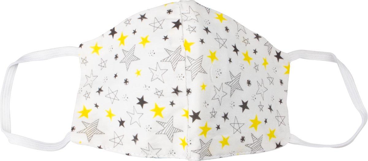 Wasbaar mondmasker, stars motief, maat: kinderen, pak van 5 stuks