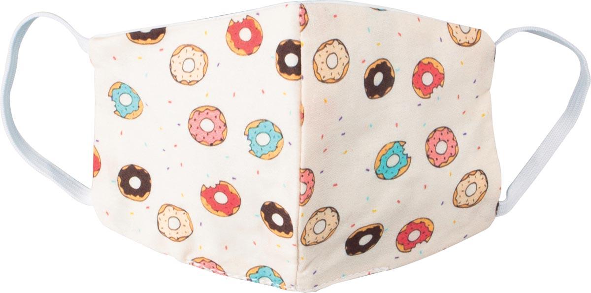 Wasbaar mondmasker, donut party motief, maat: kinderen, pak van 5 stuks