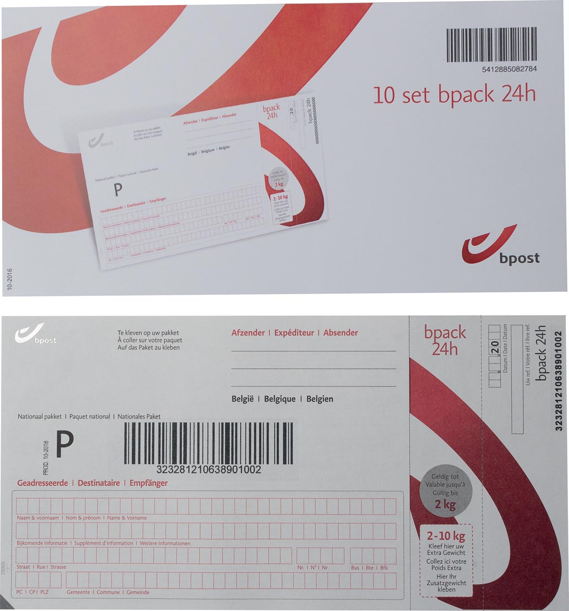 BPost frankeeretiketten voor pakjes tot 2 kg, pak van 10 stuks-2