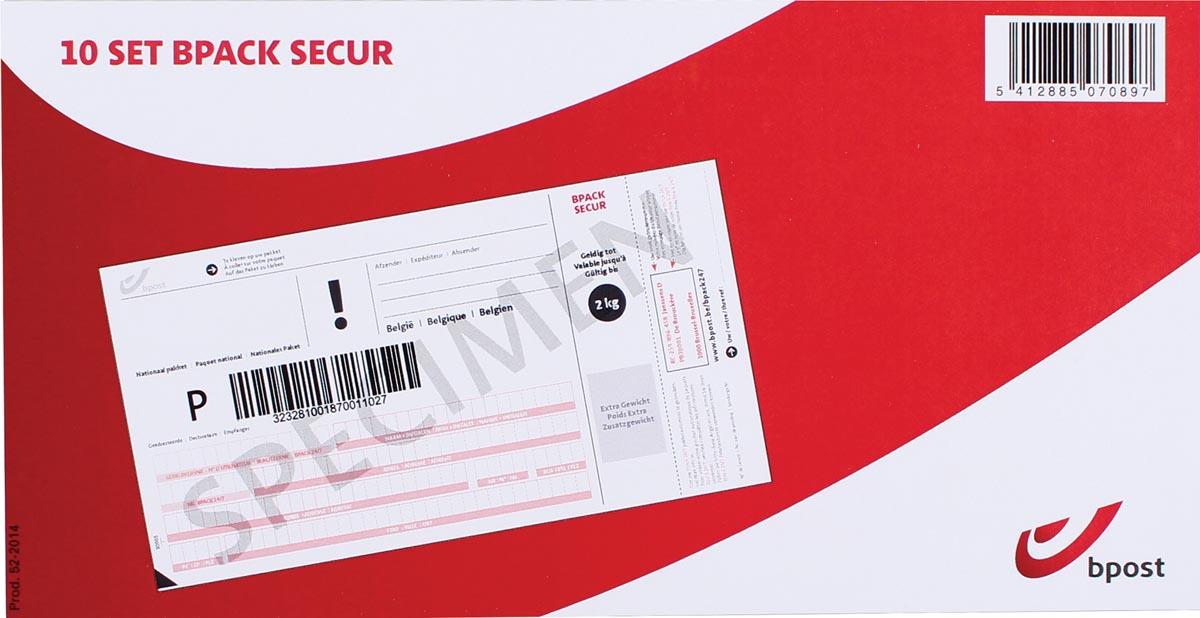 Bpost frankeeretiketten Bpack secur, 10 vouchers