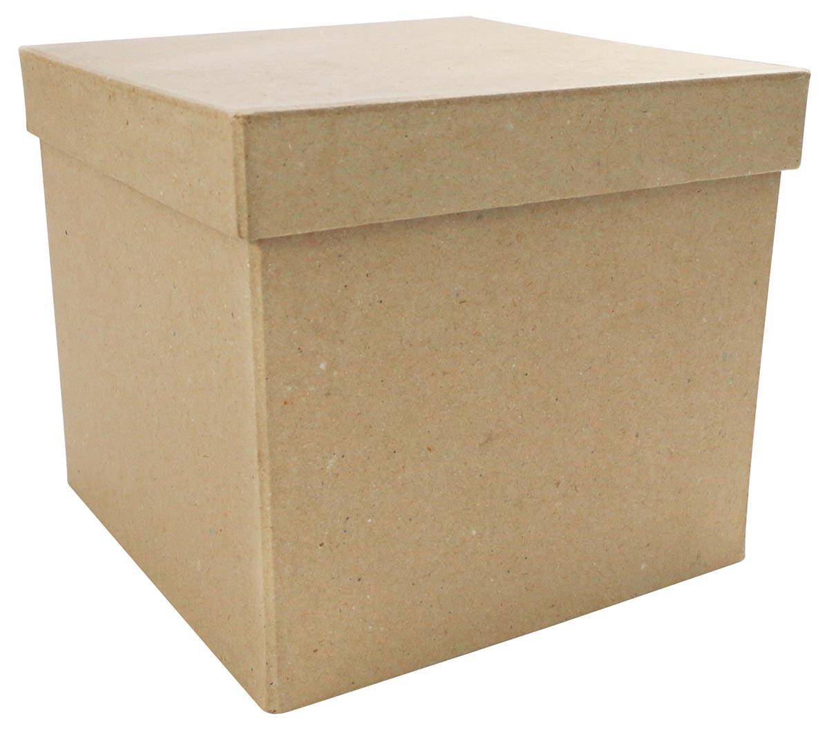 Décopatch doos, papier-maché, maat S, vierkant