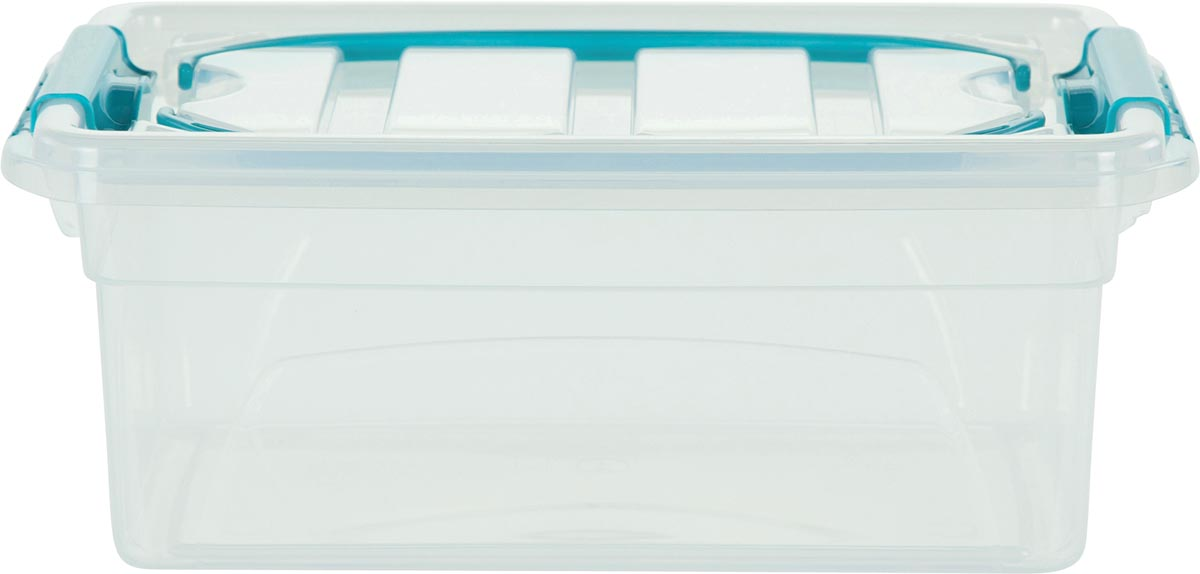Whitefurze Carry Box opbergdoos 5 liter, transparant met blauwe handvaten