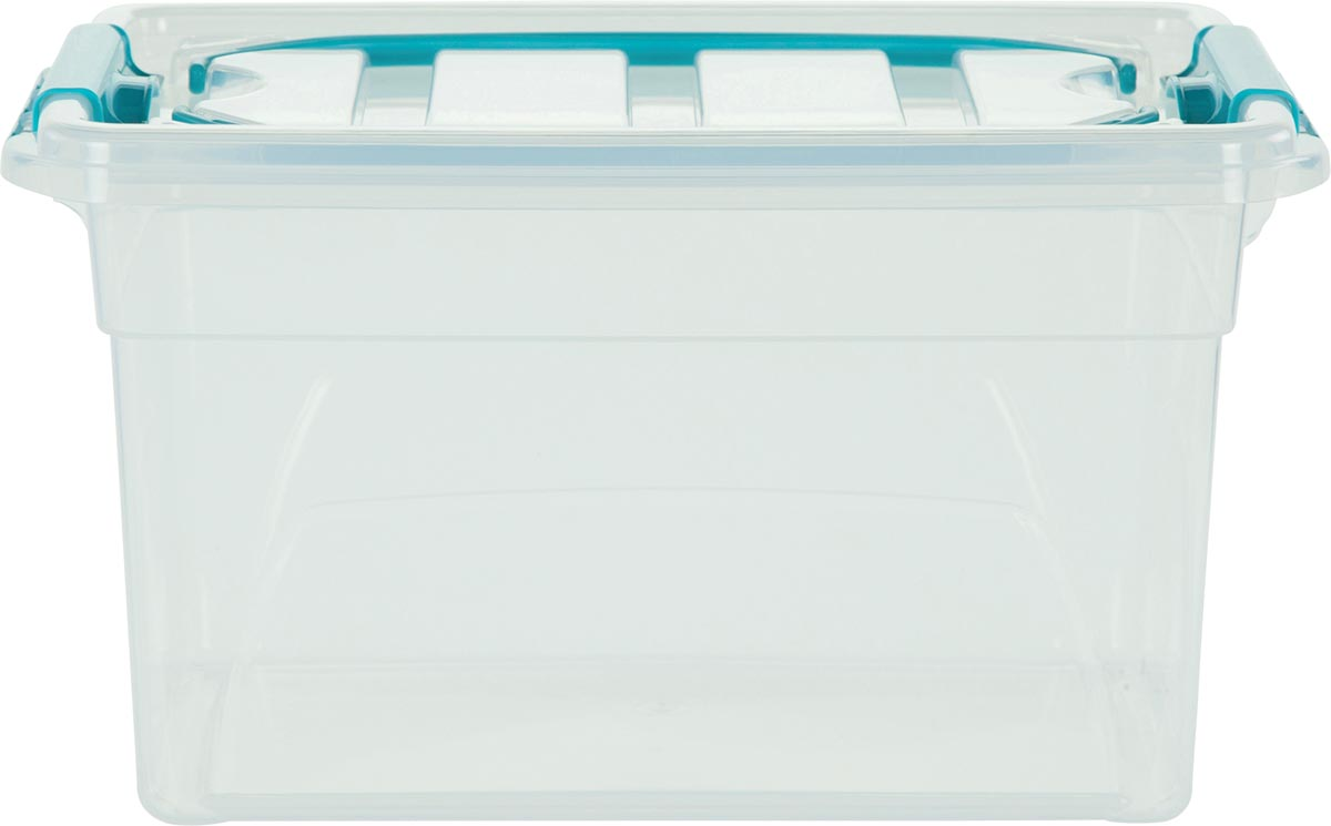 Whitefurze Carry Box opbergdoos 7 liter, transparant met blauwe handvaten