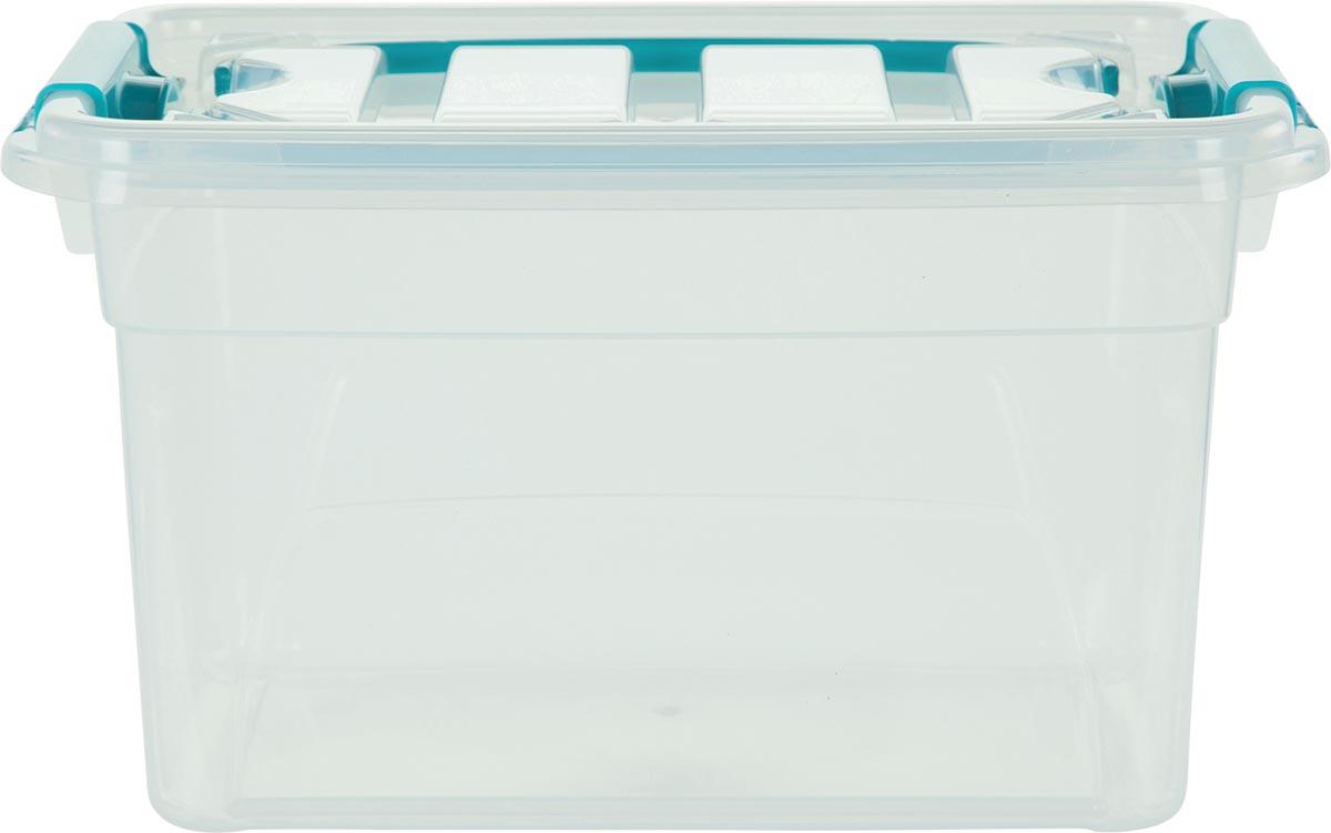Whitefurze Carry Box opbergdoos 13 liter, transparant met blauwe handvaten