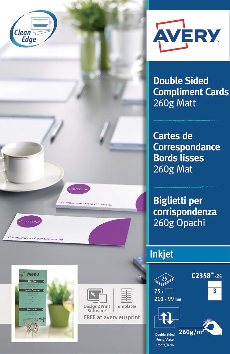 Avery complimentenkaarten, dubbelzijdig, 260 g/m², 3 per blad, 75 stuks