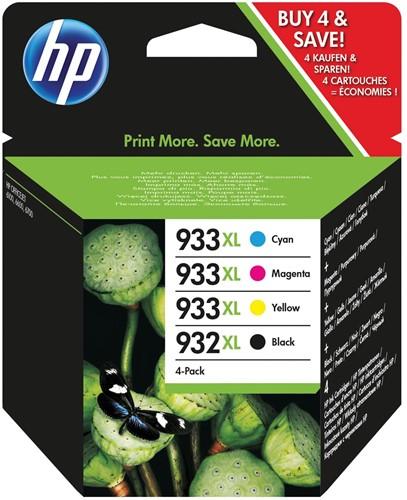HP inktcartridge 932XL en 933XL, 1 000 + 3 x 825 pagina's, OEM C2P42AE, 4 kleuren