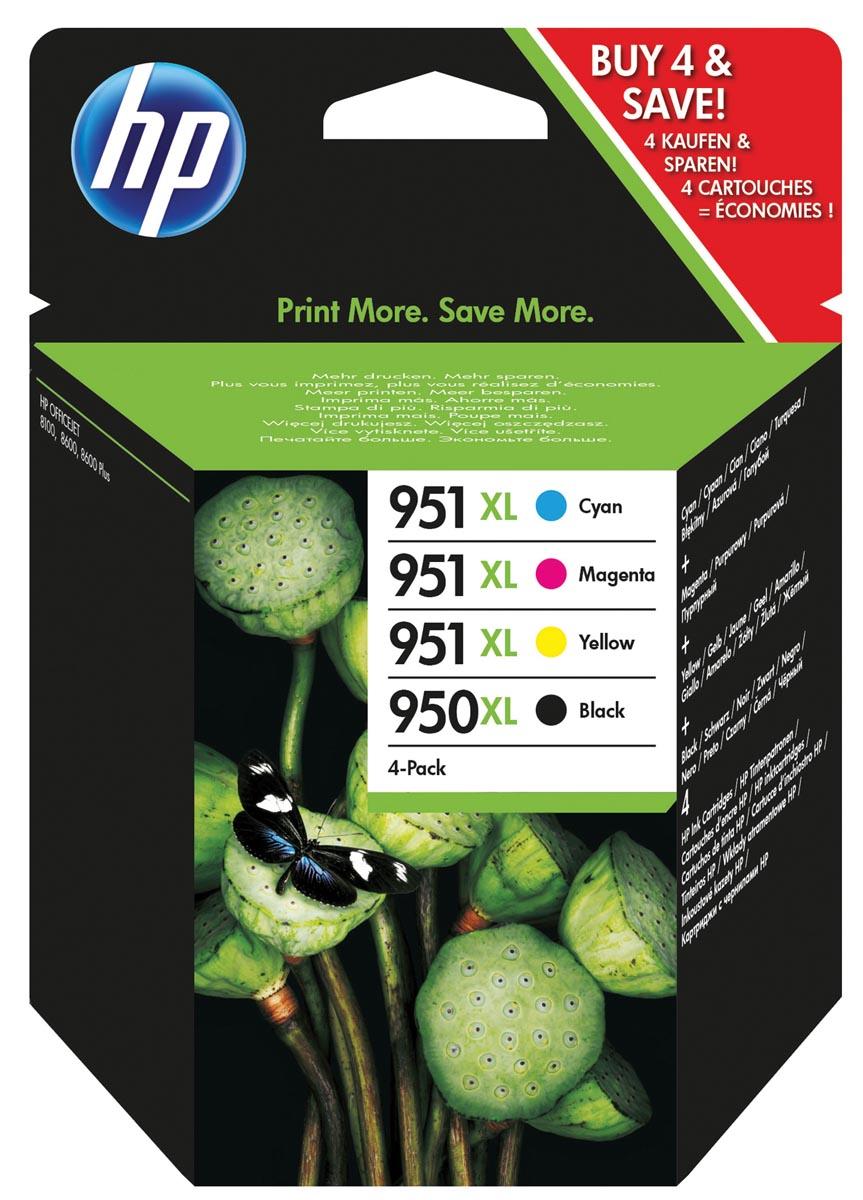 HP inktcartridge 950XL en 951XL, 2 300 + 3 x 1 500 paginas, OEM C2P43AE, 4 kleuren