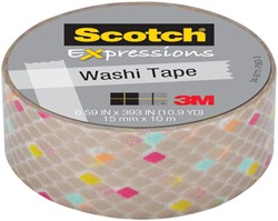 Scotch Expressions washi tape, 15 mm x 10 m, gold diamonds