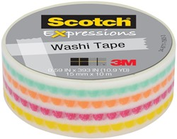Scotch Expressions washi tape, 15 mm x 10 m, funky dots