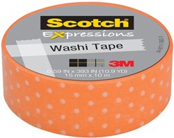 Scotch Expressions washi tape, 15 mm x 10 m, orange swiss dots